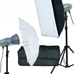 Kit Flash de studio compact 2x200w Abeja 200 (parapluie + boîte à lumière)