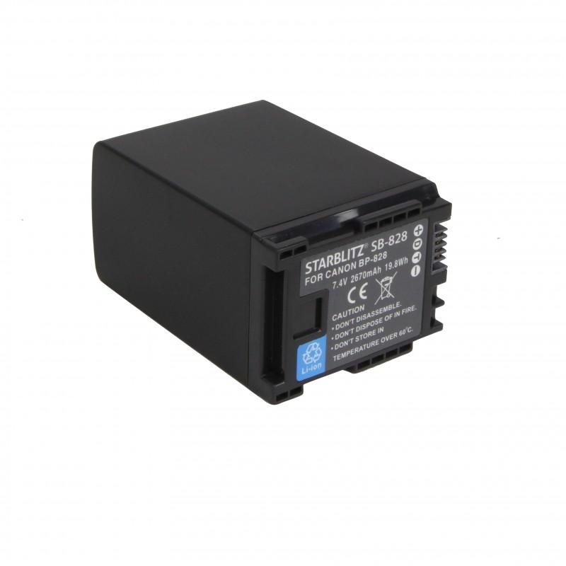 Bateria recarregável de iões de lítio compatível com Canon BP828