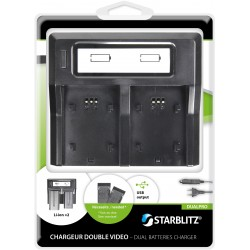 Charger for two video batteries working with plates