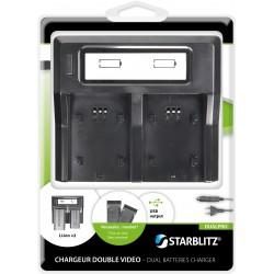 Double chargeur de batteries vidéo dédié fonctionnant avec des plaques