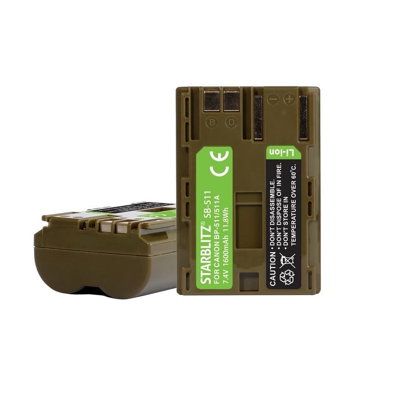Bateria recarregável de iões de lítio compatível com Canon BP 511 7.4v 1500 mAh