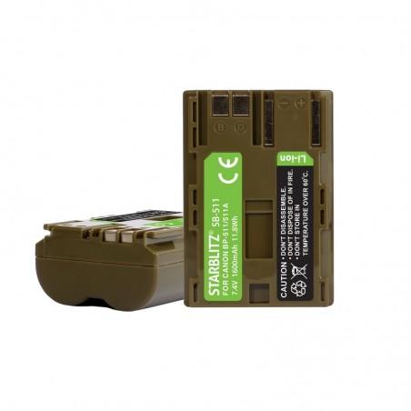 Bateria recarregável de iões de lítio compatível com Canon BP 511 7.4v 1600 mAh