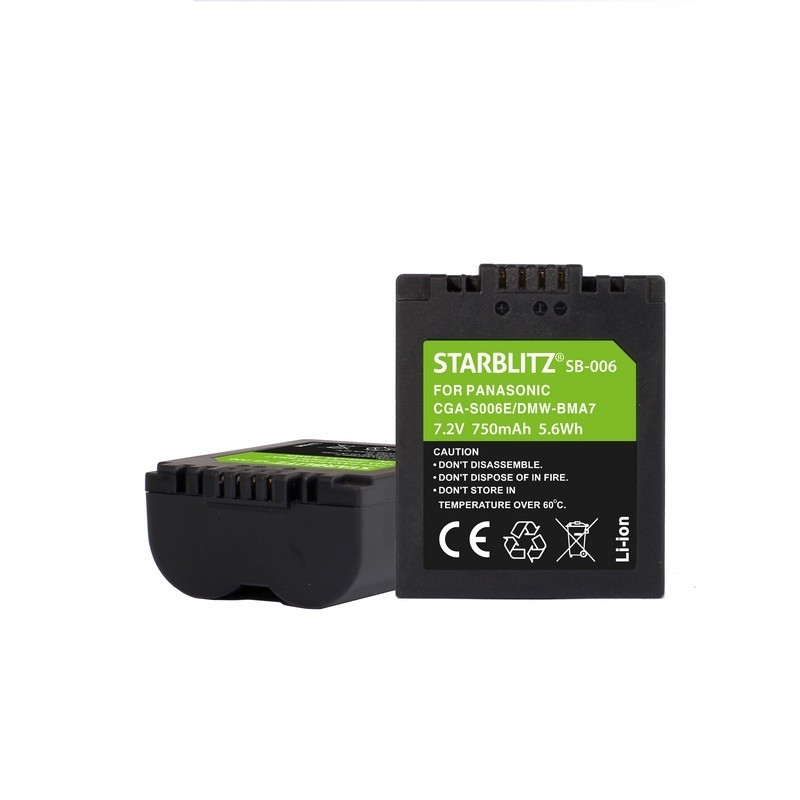Rechargeable Lithium-ion Battery to replace PANASONIC CGA-S006E/DMW-BMA7 7.4v 1200mAh