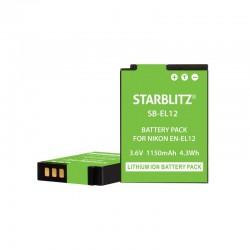 Bateria recarregável de iões de lítio compatível com Nikon EN-EL12 3.6v 1000mAh