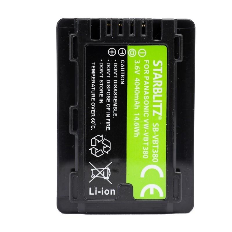 Bateria recarregável de iões de lítio compatível com Panasonic VW-VBT380