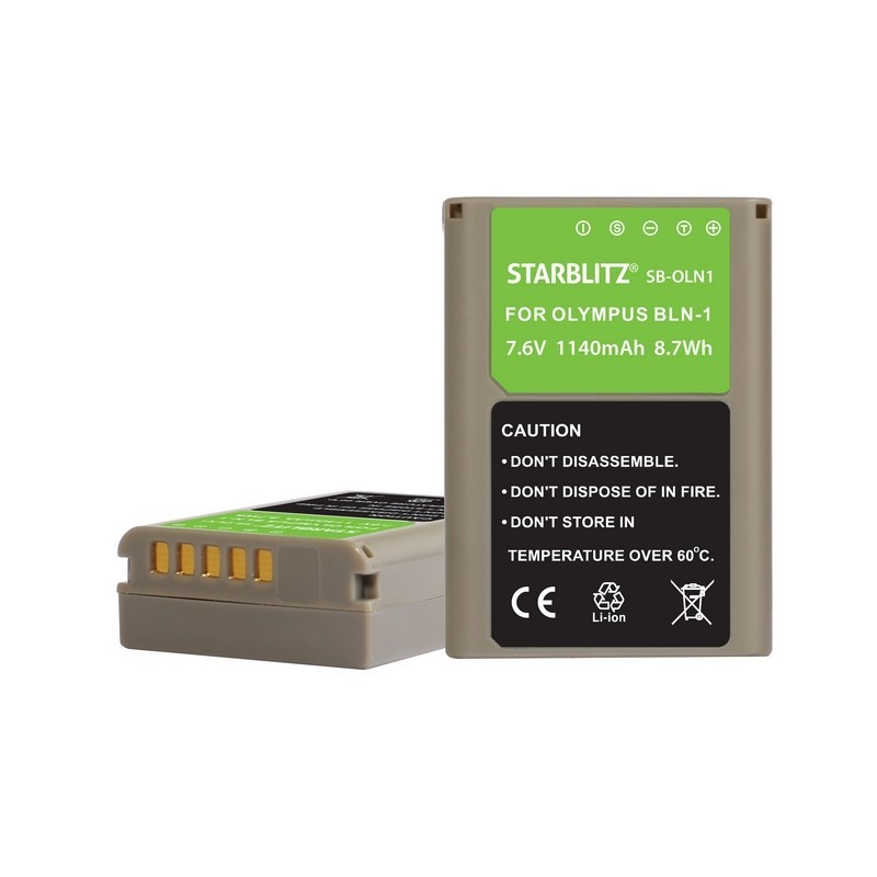 Rechargeable Lithium-ion Battery to replace Olympus BLN-1 7.6v 1220 mAh