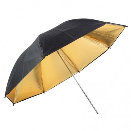 Sombrinha reflectora 90cm de diâmetro dupla face preto e dourado