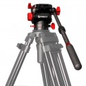 Tête vidéo professionnelle, droitier gaucher, embase plate vissant 3/8, plateau coulissant 100mm