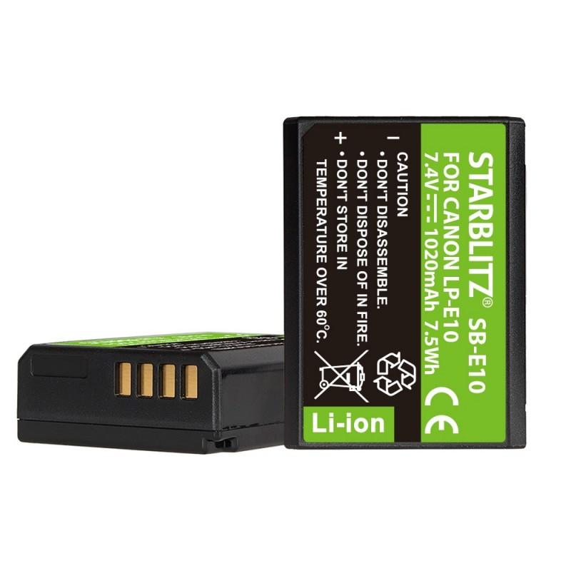 Bateria recarregável de iões de lítio compatível com Canon LP-E10